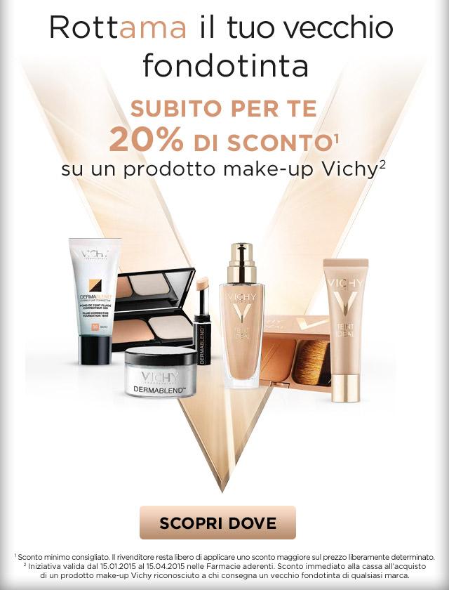 I tuoi trucchi non sono più come una volta? RottAMAli con Vichy venerdì 30 gennaio, avrai uno sconto immediato del 20% su un prodotto make-up Vichy.
